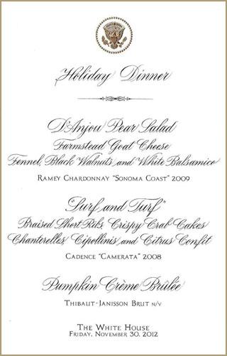 Dinner Menu White House Christmas Dinner 2012