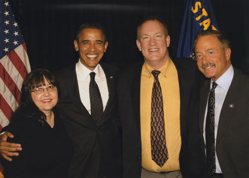 Sue Surdam, President Obama, Rick Bean and Terry Bean