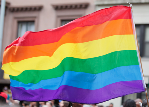 Gay Pride Parade with Rainbow Flag