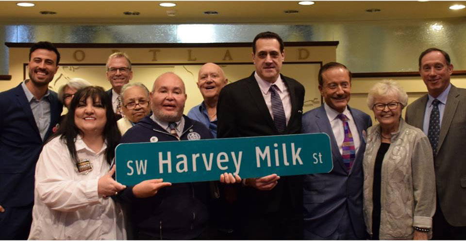 Terry-Bean-Governor-Barbara-Roberts-and-Group-Holding-Harvey-Milk-Street-Sign-Portland-Oregon